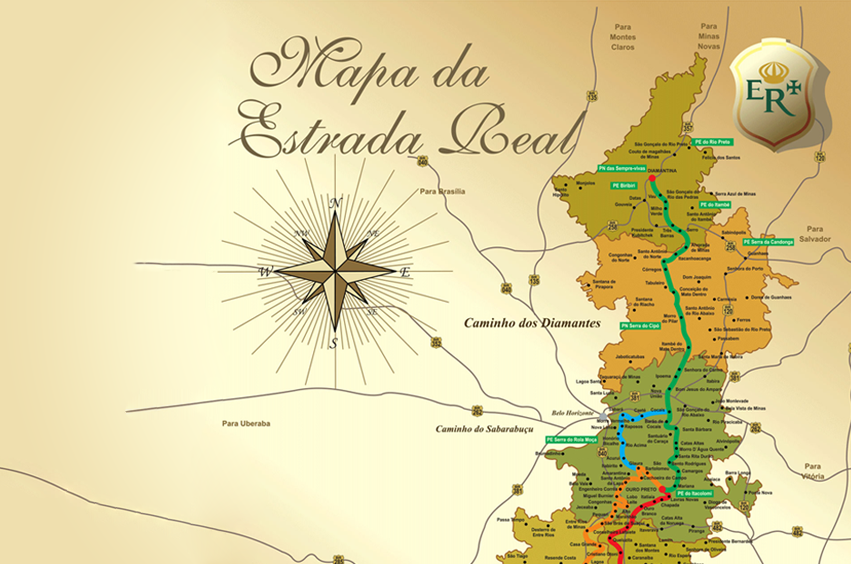 mapa estrada real de minas gerais